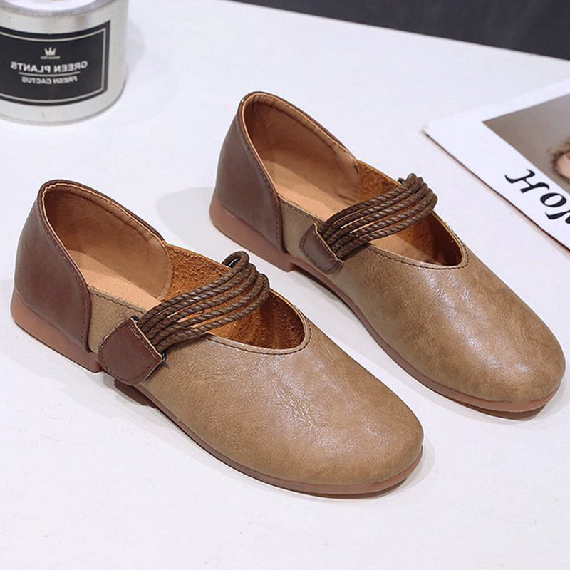 Women PU Flats Casual Comfort Magic Tape Shoes