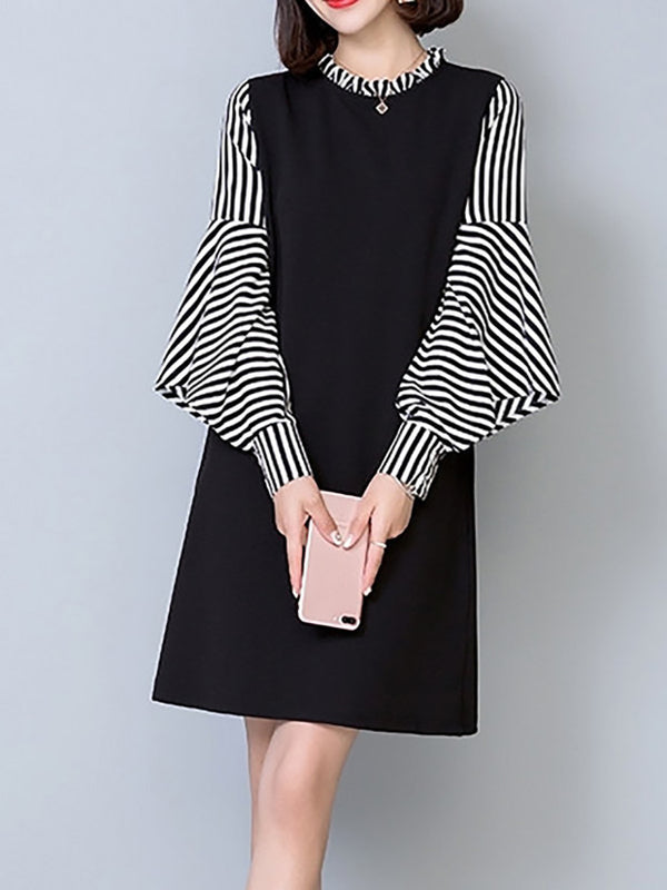 Stripes Frill Sleeve Ruffled Elegant Stripes Dress