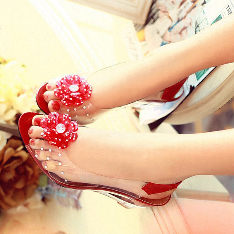 Flower Transparent Wedge Heel Women Peep Toe Jelly Sandals