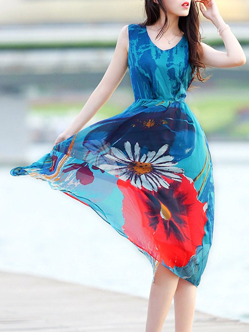 Sleeveless Ruffled A-line Floral Printed Casual Dress