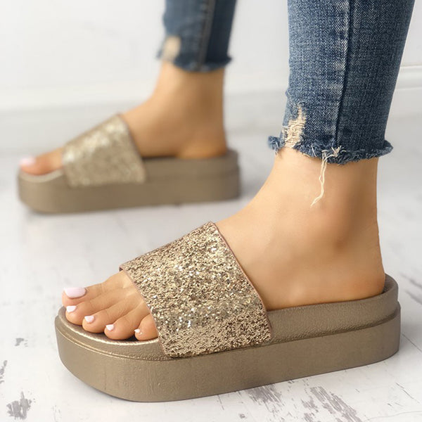 Women Sequins Slippers Casual Comfort Platform Creepers Shoes