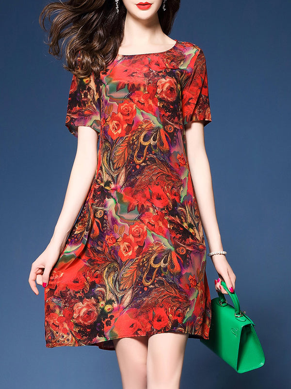 Red Short Sleeve Floral Printed Casual Print Dress