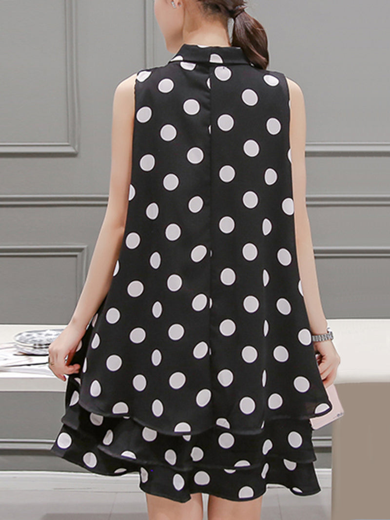 Polka Dots Sleeveless Casual Tie-neck Plus Size Dress