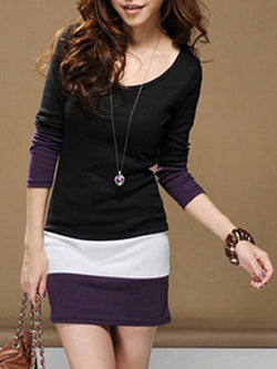 Long Sleeve Paneled Casual Color-block Crew Neck Dress