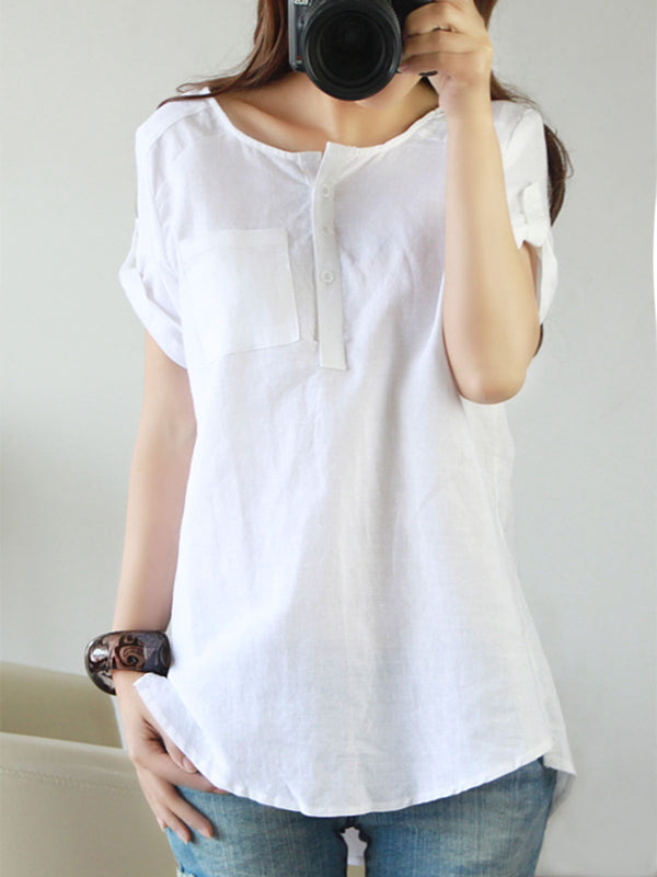 Short Sleeve Casual Crew Neck Buttoned Plus Size Linen T-Shirt