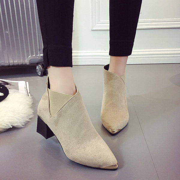 Women Ankle Flocking Chunky Heel Pointed Toe Zipper Boots