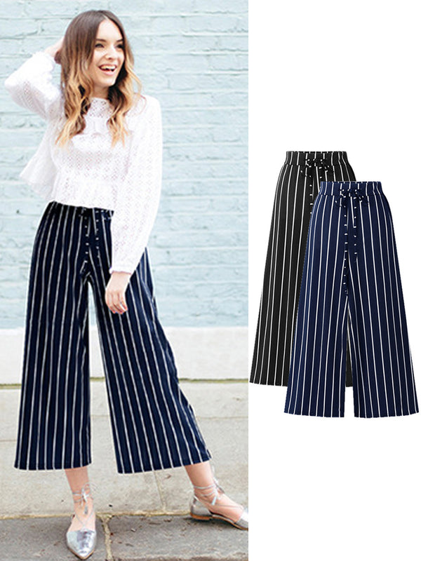 High-Rrise Gathered Shift Casual Striped Nine Pant