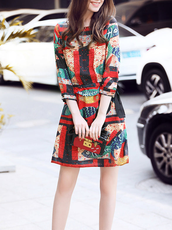 Multicolor Beaded 3/4 Sleeve A-line Crew Neck Midi Dress