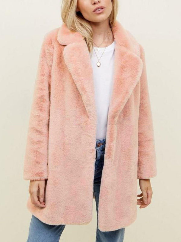 Plus Size Faux fur Solid Long Sleeve Warm Coat