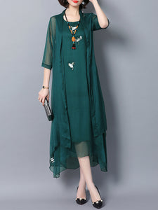 3/4 Sleeve Two Piece Embroidered Vintage Dress