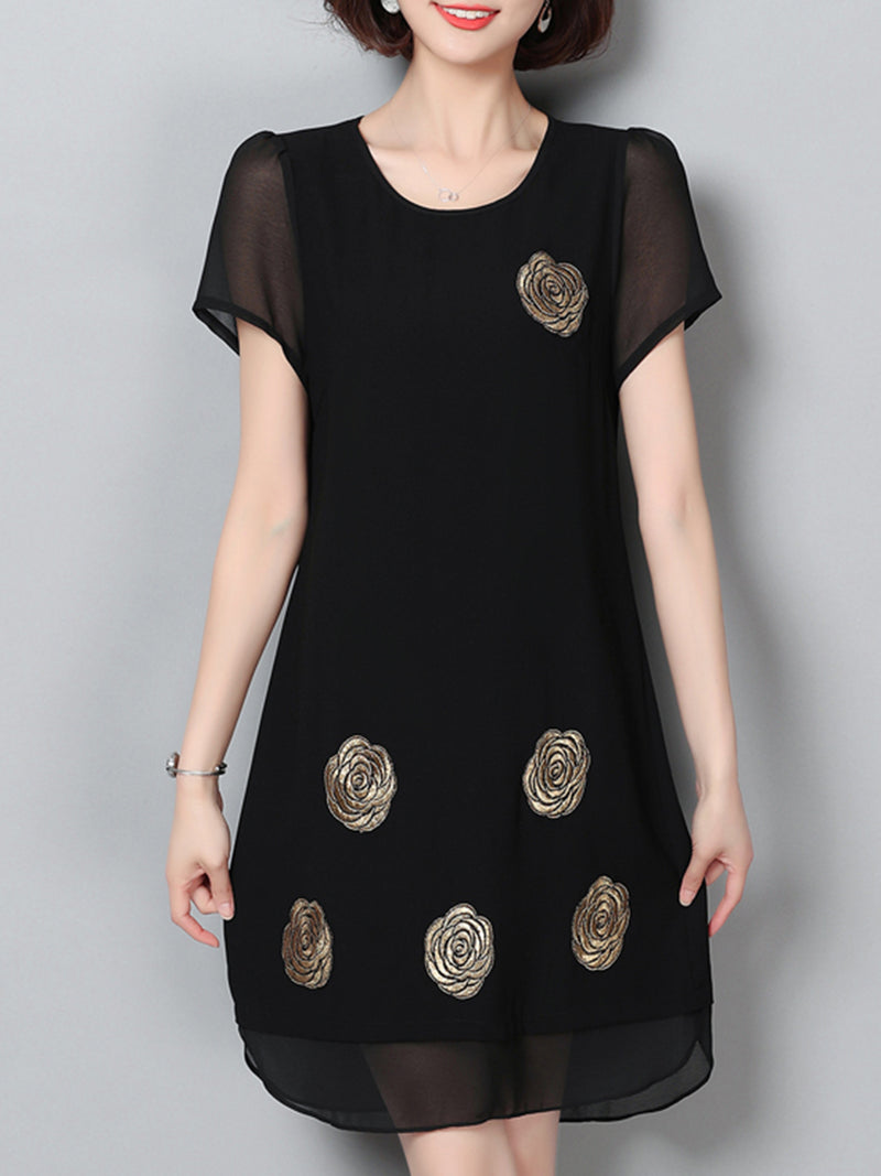 Black Casual Embroidered Short Sleeve Shift Chiffon Dress