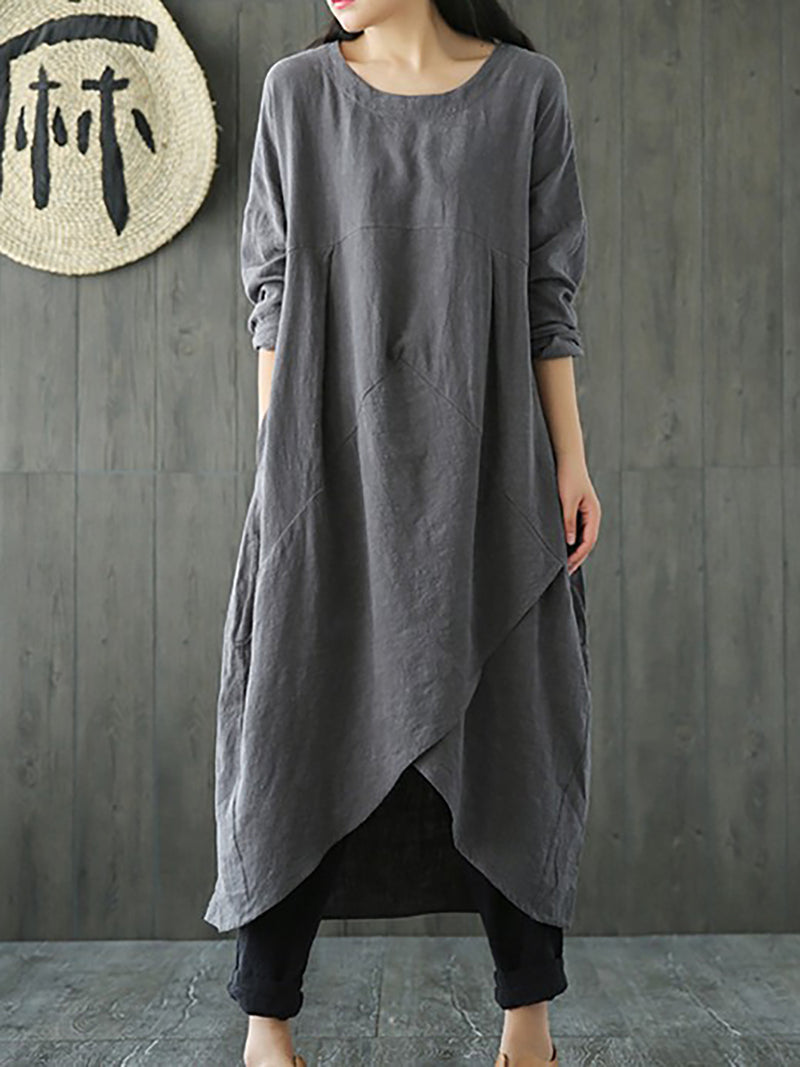 Solid Casual Crew Neck Cotton Long Sleeve Dress