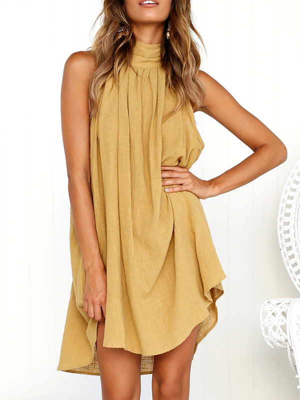 Turtle Neck A-line Folds Casual Linen Dress