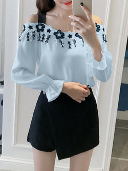 Blue Cotton Cold Shoulder Girly Blouse