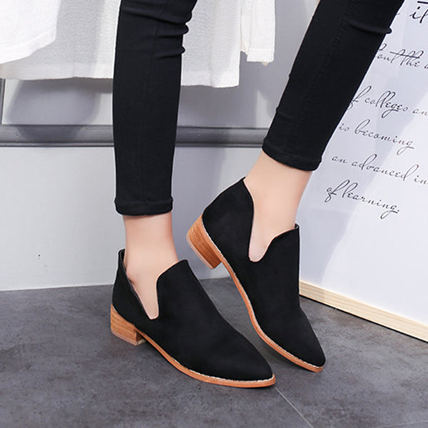 Pointed Toe Chunky Heel Casual Suede Boots