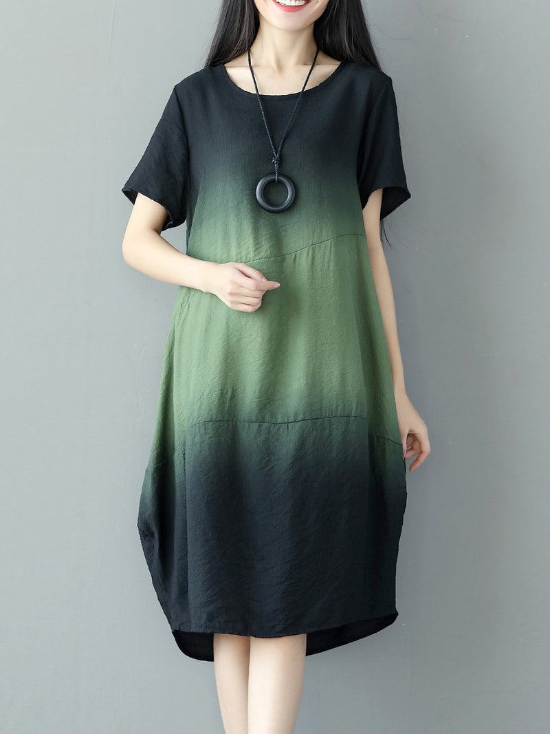 Green Ombre/Tie-Dye Crew Neck Short Sleeve Casual Dress