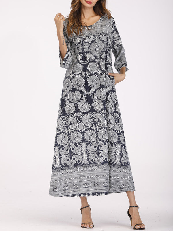 Blue Shift Tribal Long Sleeve Crew Neck Plus Size Dress