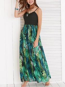 Spaghetti Strap Patchwork Printed Maxi Dress