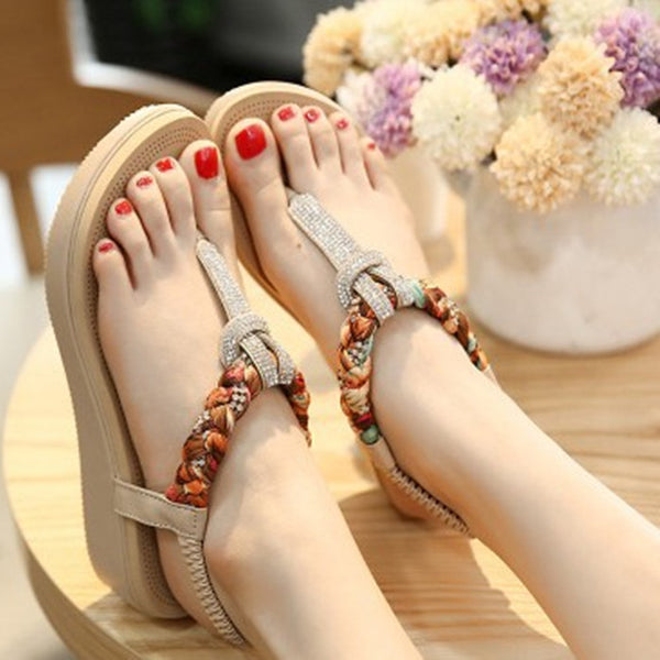 Beading Platform Shoes Women Elastic Band PU Sandals Beach Slippers