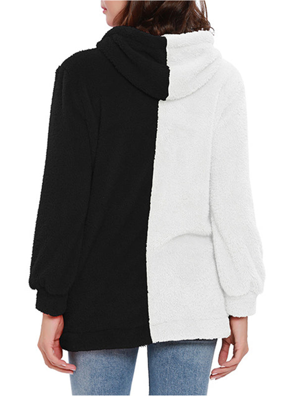 Casual Solid Long Sleeve Color Block Fleece Cashmere Zipper Hoodie