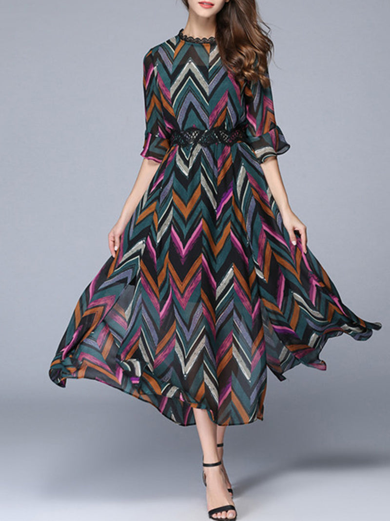 Stripes Casual Stand Collar 3/4 Sleeve Chiffon Dress