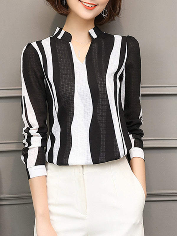 V-Neck Printed Striped Elegant Blouse