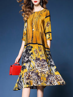 Yellow Printed Vintage Chiffon Half Sleeve Dress