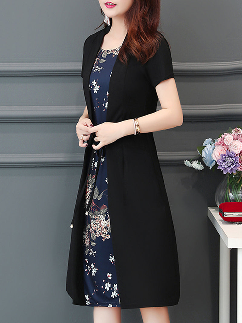 Casual Floral Printed Crew Neck Plus Size Chiffon Dress