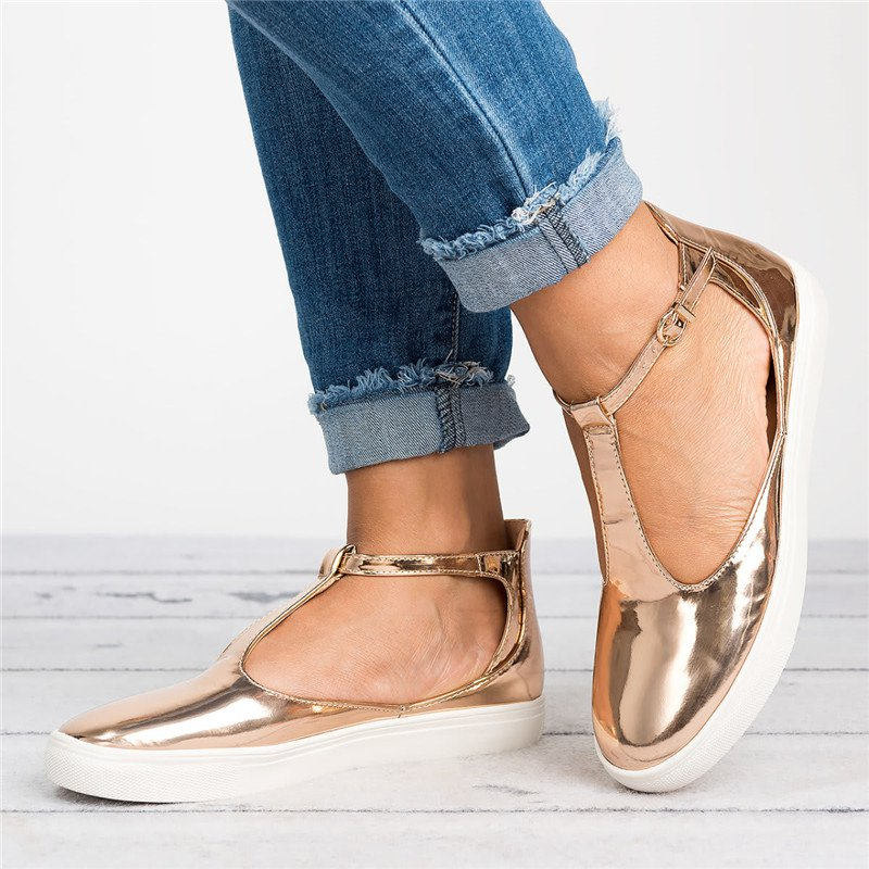 Plus Size Sandals Round Toe Shoes with Adjustable Buckle