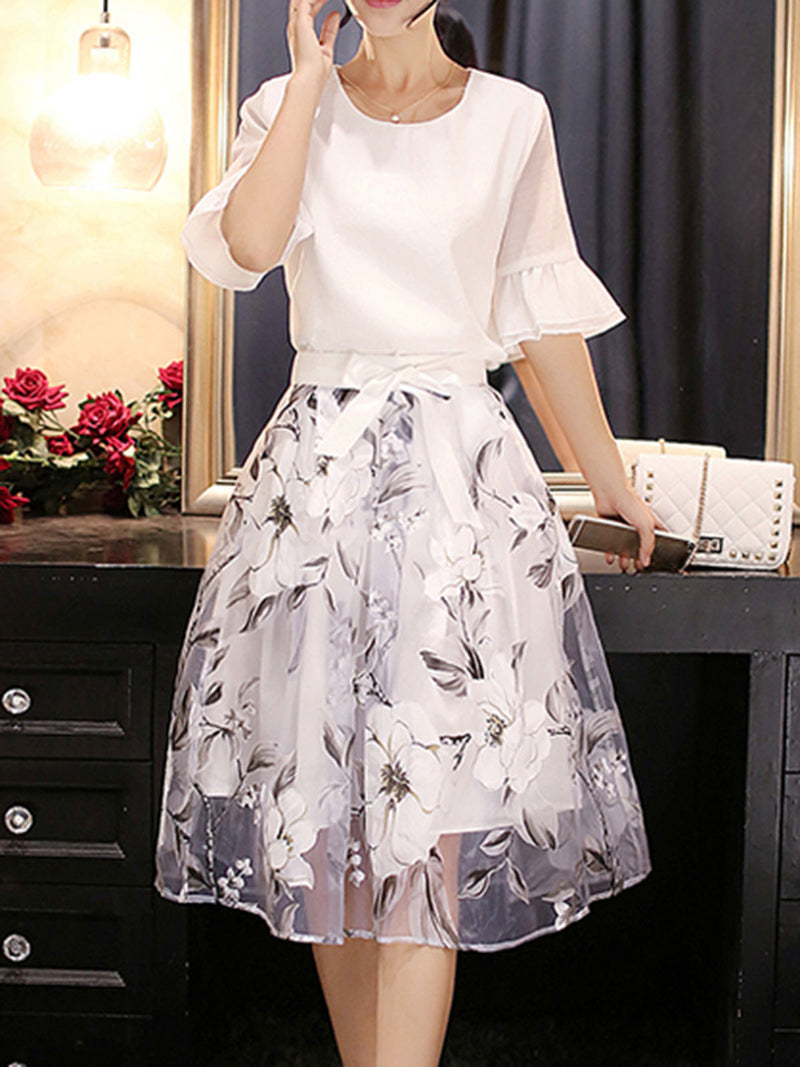 White Bell Sleeve Printed Two Piece Elegant Dress