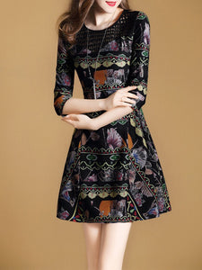 Black A-line 3/4 Sleeve Floral Printed Elegant Dress