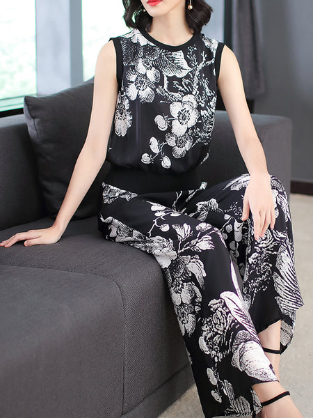 Black Casual Floral Printed Shift Women's Set