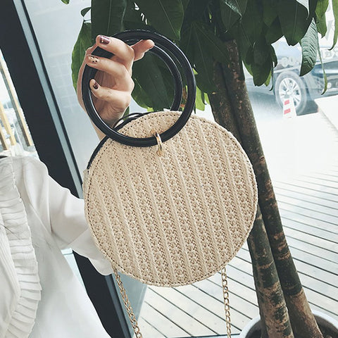 Straw Handbags Women Beach Shoulder Summer Top Handle Crossbody Round Purse Ladies Woven Fashion Crochet