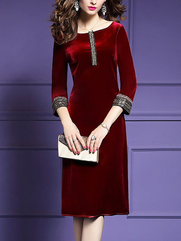 Velvet Sheath Daytime Casual Solid Midi Dress