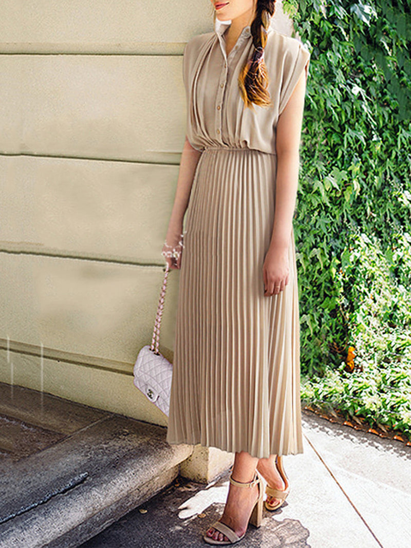 Elegant Sleeveless Folds Plus Size Linen Dress