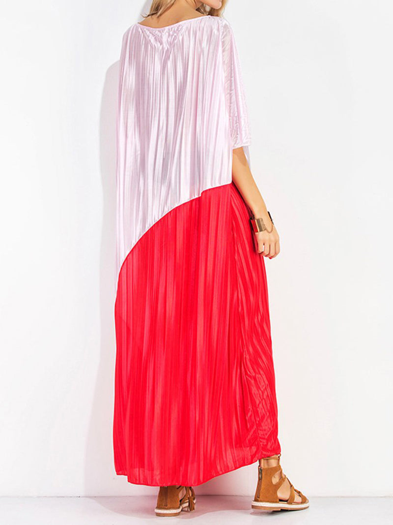 A-line Casual V-neck Batwing Maxi Dress