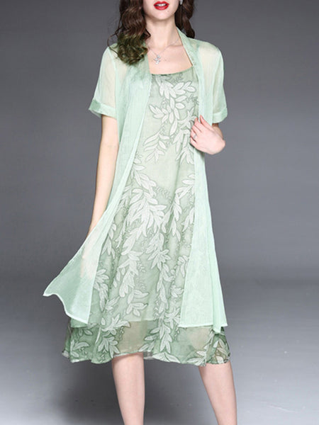 Leaf Printed Casual Two Piece Plus Size Dress Fairymiss