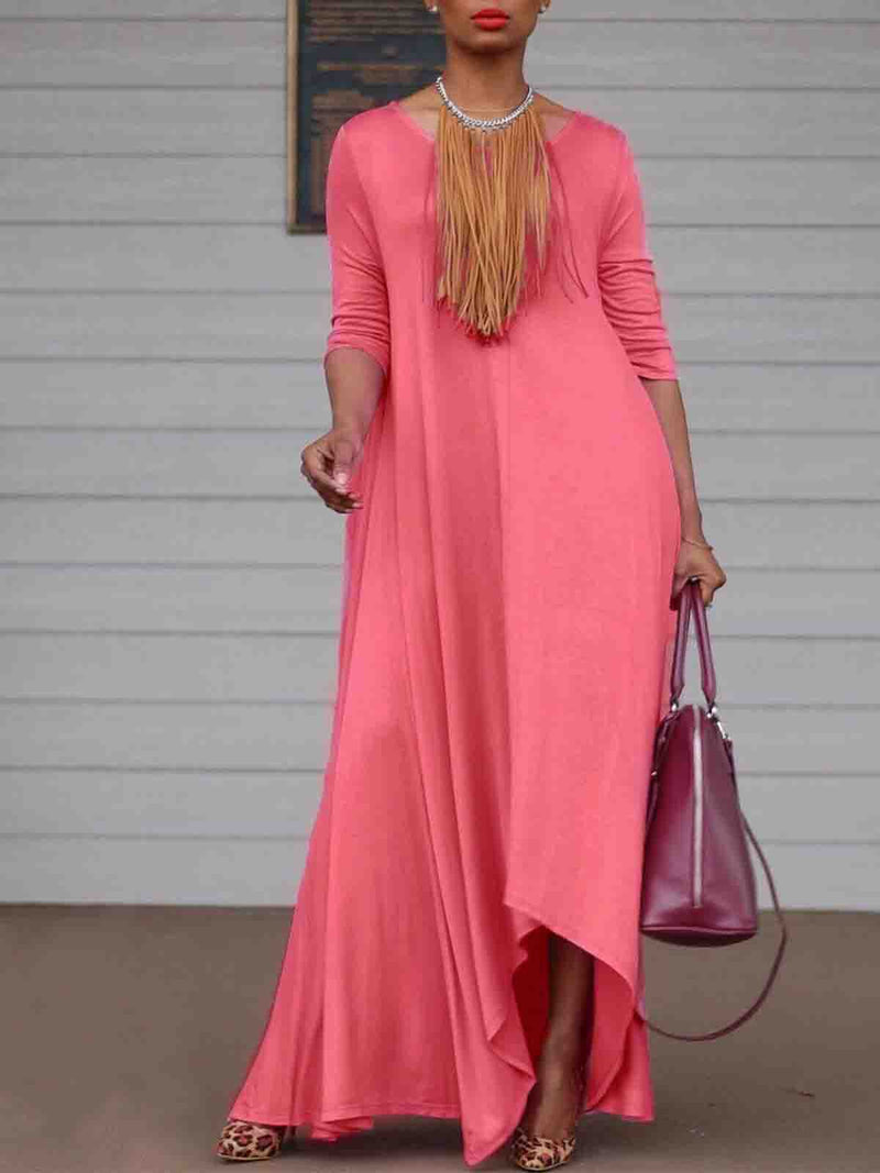 Women Classic Basic Solid Casual Long Dress