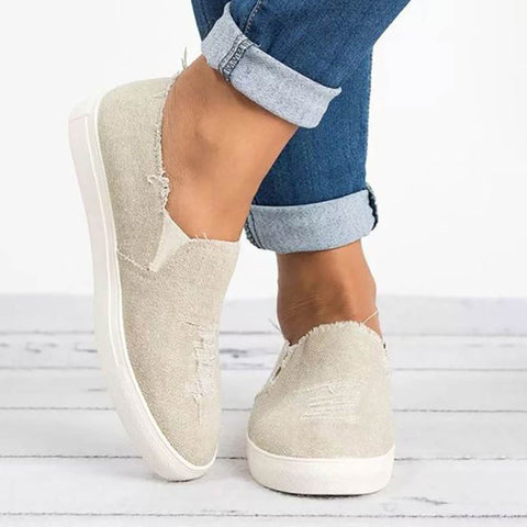 Worn Hole Round Toe Denim Casual Flats