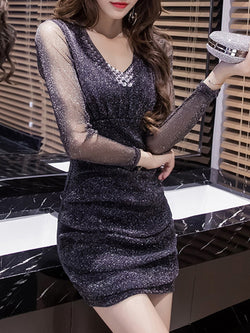 Embellished Shimmer Bodycon Long Sleeve Dress
