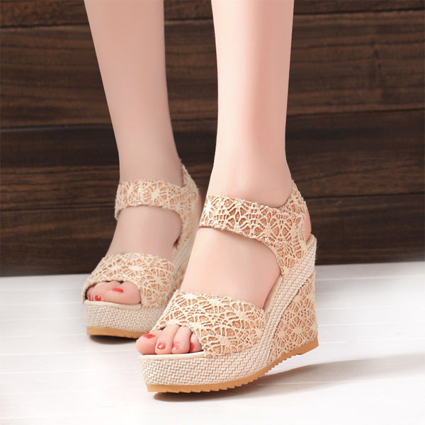 Wedge Heel Flower PU Magic Tape Platform Sandals