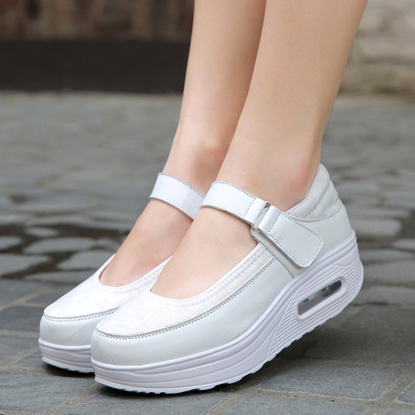 Woven Mesh Summer Wedge Heel Magic Tape Sneakers