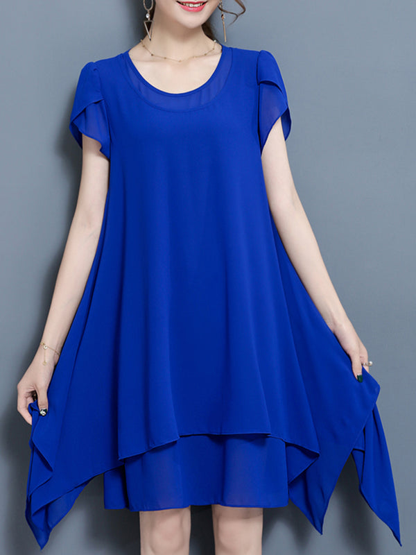 Crew Neck Casual Chiffon Asymmetrical Plus Size Dress