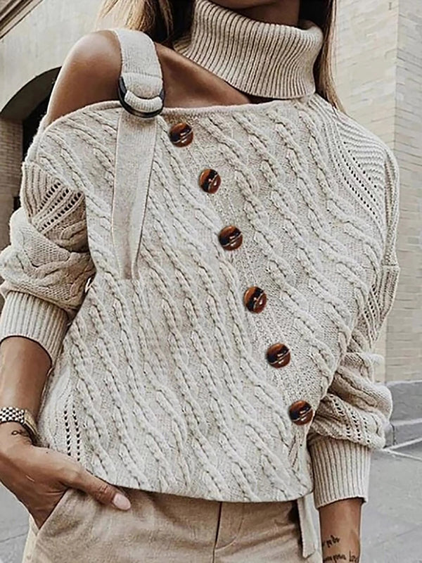 Button Decor Off Shoulder Sweater