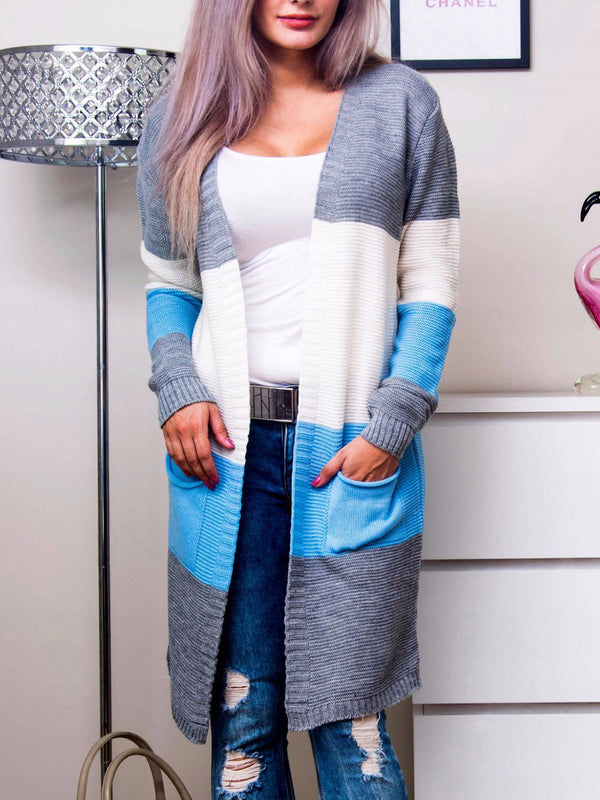 Annychloe Blue Color-Block Basic Knitted Long Sleeve Sweater Cardigan With Pockets