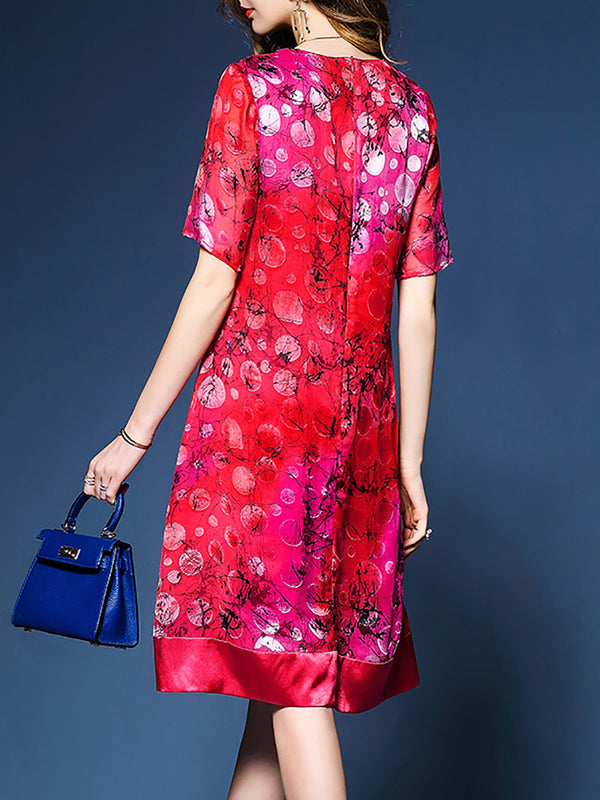 Red Paneled Floral Printed Elegant Midi Dress