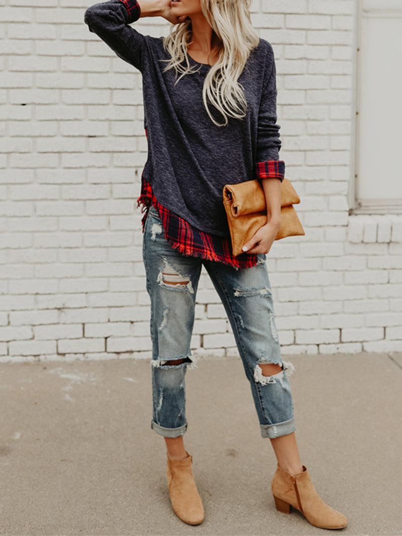 Plaid Long Sleeve Casual Paneled Tunic