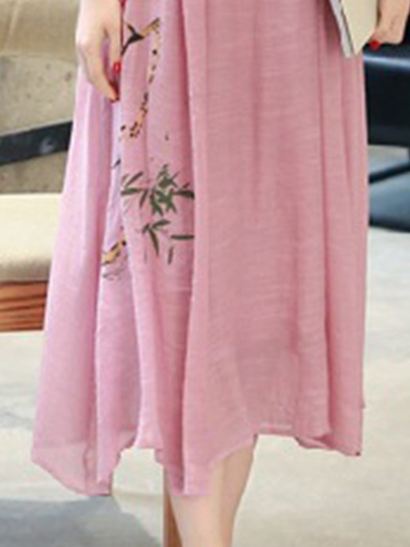 Printed 3/4 Sleeve Linen Shift Elegant Dress