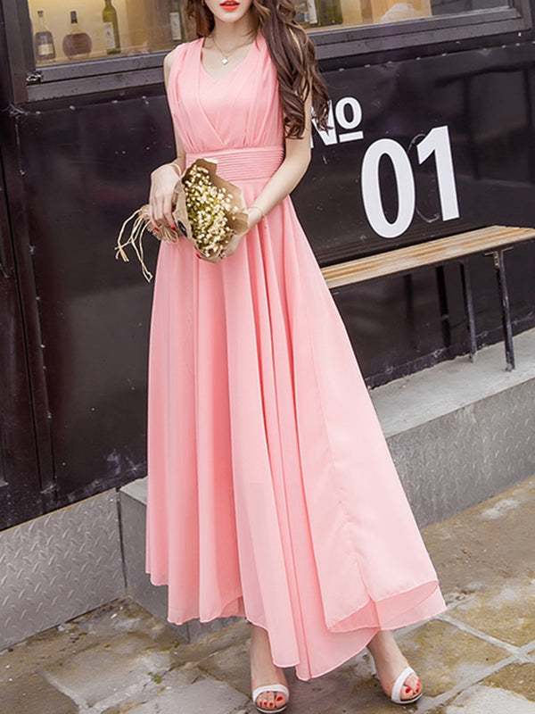 Solid Elegant Short Sleeve Plus Size Swing Chiffon Dress