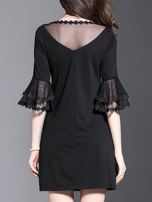 Black Crew Neck Mesh Bell Sleeve A-line Elegant Dress